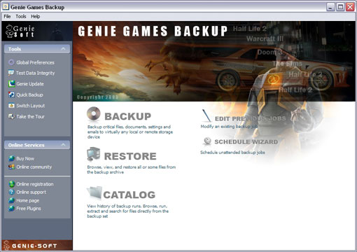 Genie Games Backup screen shot