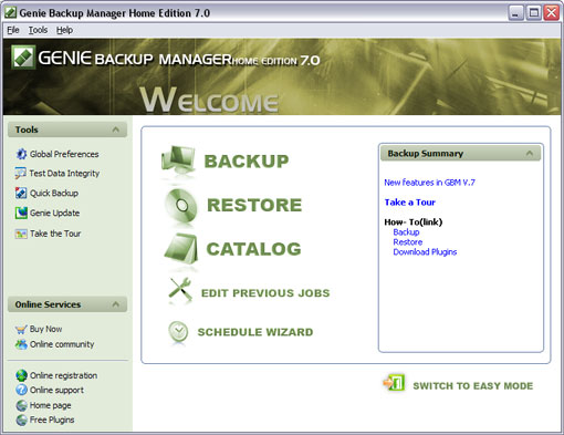 Click to view Genie Backup Manager Home Edition 6.0 screenshot