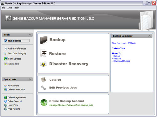 Click to view Genie Backup Manager Server Edition 6.0 screenshot